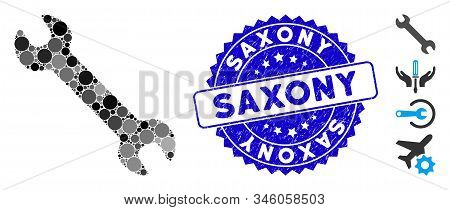 Collage Wrench Icon And Rubber Stamp Seal With Saxony Caption. Mosaic Vector Is Composed With Wrench
