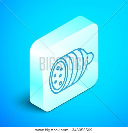 Isometric Line Salami Sausage Icon Isolated On Blue Background. Meat Delicatessen Product. Silver Sq