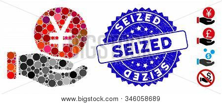 Mosaic Yen Coin Payment Hand Icon And Distressed Stamp Seal With Seized Text. Mosaic Vector Is Creat