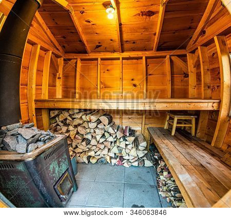 Empty Outside Wooden Steam Sauna Room Healthy Lifestyle