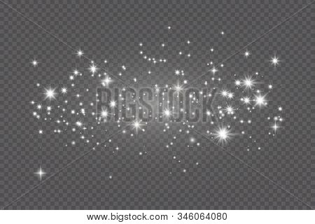 Dust White. White Sparks And Golden Stars Shine With Special Light. Vector Sparkles On A Transparent