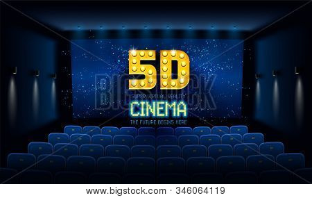 Empty Movie Theatre. Dark Cinema Hall With Blue Screen And 5d Virtual Reality. Modern Movies Theater