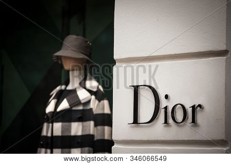 Prague - Czechia - November 1, 2019:  Logo Of Christian Dior Seen On Their Prague Main Boutique Dior