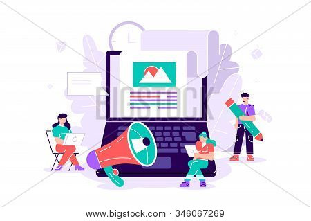 Flat Vector Illustration Isolated. Blog Content, Blogging, Post Concept For Web Page, Banner, Presen