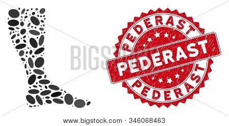 Mosaic Deep Vein Thrombosis Icon And Red Rubber Stamp Seal With Pederast Text. Mosaic Vector Is Crea