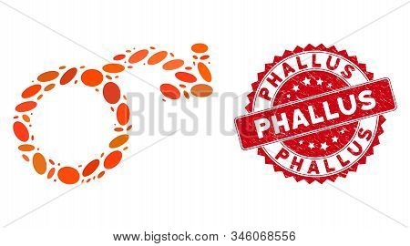 Mosaic Impotence Icon And Red Rubber Stamp Seal With Phallus Text. Mosaic Vector Is Formed From Impo