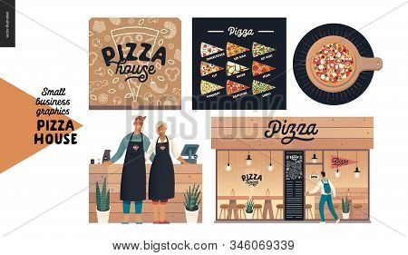 Pizza House -small Business Graphics -owners And Facade. Modern Flat Vector Concept Illustrations -