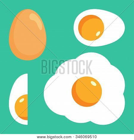 Egg Isolated On Black Background. Set Of Fried, Boiled, Half Eggs. Eggs In Various Forms. Egg Logo V