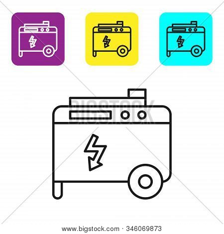 Black Line Portable Power Electric Generator Icon Isolated On White Background. Industrial And Home