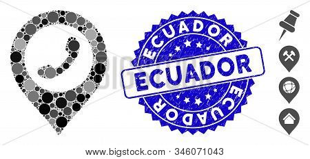 Mosaic Phone Marker Icon And Grunge Stamp Seal With Ecuador Text. Mosaic Vector Is Created With Phon