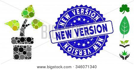 Mosaic Plant Icon And Corroded Stamp Seal With New Version Caption. Mosaic Vector Is Composed With P
