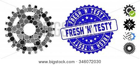 Collage Pinion Icon And Corroded Stamp Seal With Fresh N Testy Caption. Mosaic Vector Is Formed With