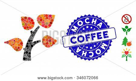 Collage Plant Tree Icon And Grunge Stamp Seal With Mocha Coffee Phrase. Mosaic Vector Is Designed Wi