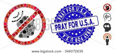 Collage No Telepathy Waves Icon And Distressed Stamp Seal With Pray For U.s.a. Caption. Mosaic Vecto
