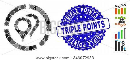 Collage Geotargeting Diagram Icon And Corroded Stamp Seal With Triple Points Phrase. Mosaic Vector I