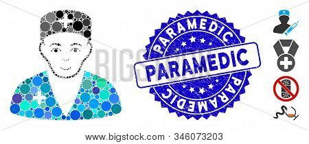 Mosaic Medic Icon And Rubber Stamp Watermark With Paramedic Phrase. Mosaic Vector Is Formed With Med