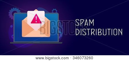 Spam Distribution - Laptop With Envelope And Mail Notification With Alert And Warning Messages Icon.