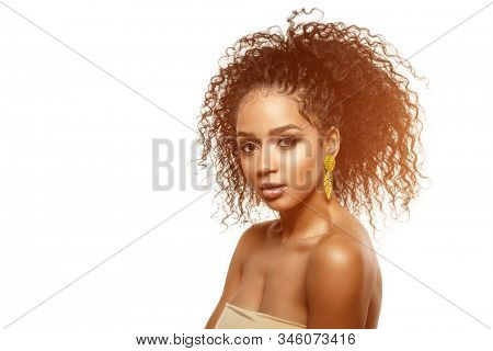 Beauty black skin woman fashion african ethnic female face portrait. Young girl model with afro.