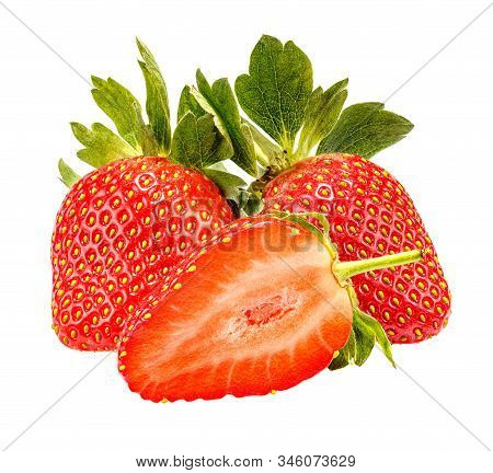 Two Ripe Red Strawberries With Green Leaves And Half Of Cutted Strawberry On The Foreground Isolated