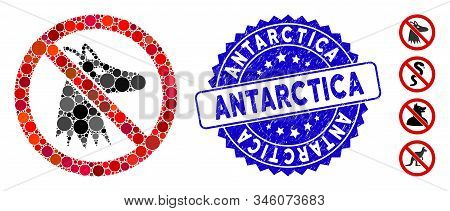 Mosaic No Fox Icon And Grunge Stamp Seal With Antarctica Caption. Mosaic Vector Is Designed From No