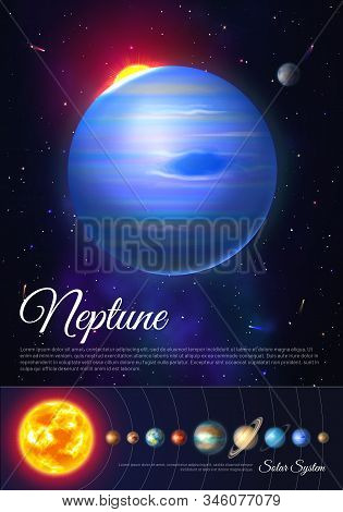 Neptune Ice Giant Planet Colorful Poster With Solar System. Galaxy Discovery And Exploration. Realis