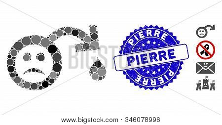 Mosaic Sad Impotence Icon And Grunge Stamp Seal With Pierre Text. Mosaic Vector Is Composed With Sad