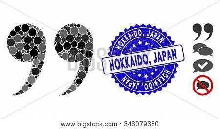Collage Quote Symbol Icon And Rubber Stamp Seal With Hokkaido, Japan Text. Mosaic Vector Is Composed