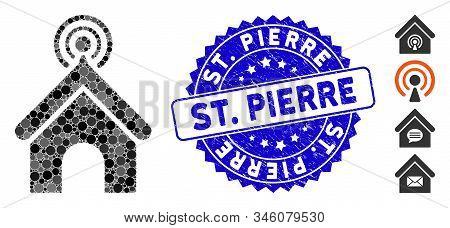 Mosaic Telecom Office Icon And Grunge Stamp Seal With St. Pierre Phrase. Mosaic Vector Is Created Wi