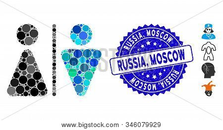 Mosaic Wc Persons Icon And Rubber Stamp Watermark With Russia, Moscow Phrase. Mosaic Vector Is Forme