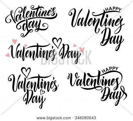 Happy Valentine S Day Ard. Typography Background Vector Illustration. Valentine Hand Lettering Text
