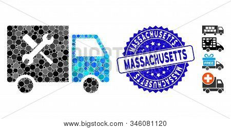 Mosaic Service Van Icon And Rubber Stamp Seal With Massachusetts Text. Mosaic Vector Is Composed Wit