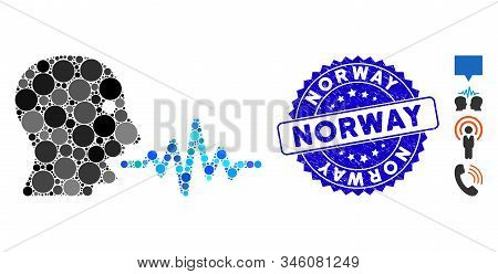Mosaic Talking User Signal Icon And Corroded Stamp Seal With Norway Caption. Mosaic Vector Is Formed
