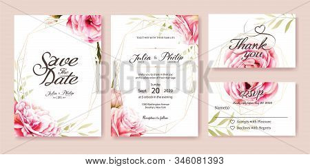 Wedding Invitation, Save The Date, Thank You, Rsvp Card Design Template. Vector. Pink Rose, Olive Le