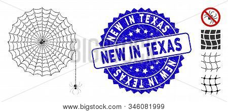 Mosaic Spider Net Icon And Rubber Stamp Seal With New In Texas Caption. Mosaic Vector Is Formed With