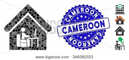 Mosaic Office Room Icon And Rubber Stamp Seal With Cameroon Caption. Mosaic Vector Is Created With O