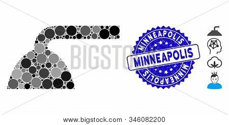 Mosaic Shower Head Icon And Grunge Stamp Seal With Minneapolis Caption. Mosaic Vector Is Created Wit