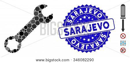 Mosaic Wrench Icon And Distressed Stamp Seal With Sarajevo Phrase. Mosaic Vector Is Formed From Wren