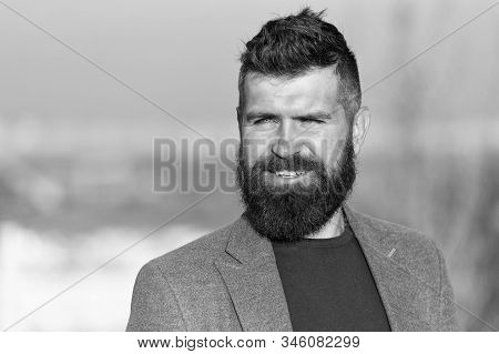 Beard Is Hairy Extension Of Man. Bearded Man With Stylish Mustache And Beard Shape. Manager With Tex
