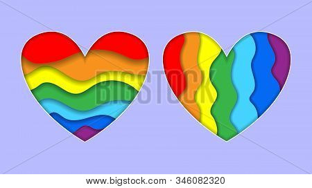 Set Of Rainbow Heart Paper Cut Art Style Horizontal And Vertical Stripe Colors Lgbt Or Glbt Pride Fl