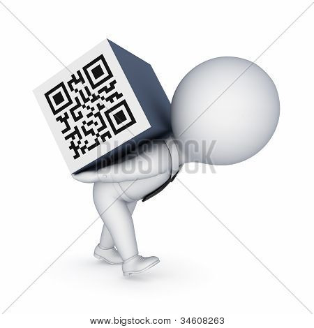 3d samll person and QR code.