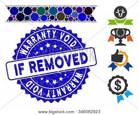 Mosaic Striped Ribbon Icon And Corroded Stamp Seal With Warranty Void If Removed Caption. Mosaic Vec