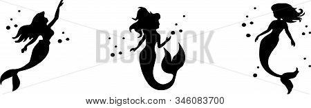 Mermaid Vector Isolated On Background Vintage Mermaid, Water, White