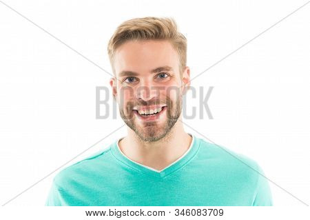 Healthy Smile. Dentistry Concept. Man Handsome Guy Smiling White Background. Guy Cheerful Smile Mach