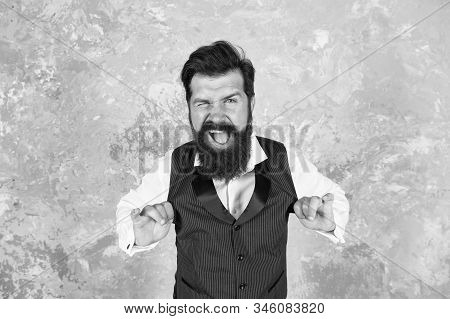 Charming Jewish Person. Bearded Jewish Man. Guy Mature Bearded Stylish Dressed In Shirt And Vest. Je
