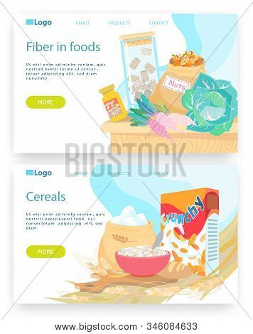 Healthy Breakfast Meal, Bowl With Cereals. Vegetables And Nuts, Fiber In Food. Vector Web Site Desig