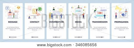 Media, Video Streaming, Propaganda Broadcast. Mobile App Onboarding Screens. Menu Vector Banner Temp