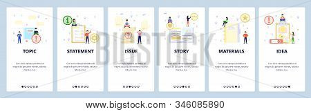 Open Book, Todo List, Office Materials. Mobile App Onboarding Screens. Menu Vector Banner Template F