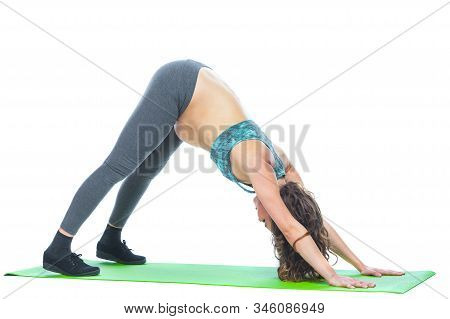 Beautiful Pregnant Woman Workout. Doing Fitness On Last Months Of Pregnancy. Yoga Positions. Motherh