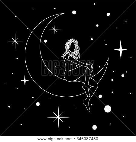 Naked Woman Sitting On The Moon In Trendy Linear Minimal Style.
