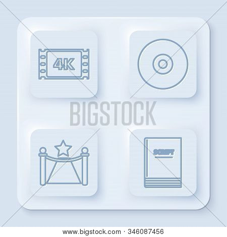 Set line 4k movie, tape, frame , CD or DVD disk , Carpet with barriers and star and Scenario . White square button. Vector poster
